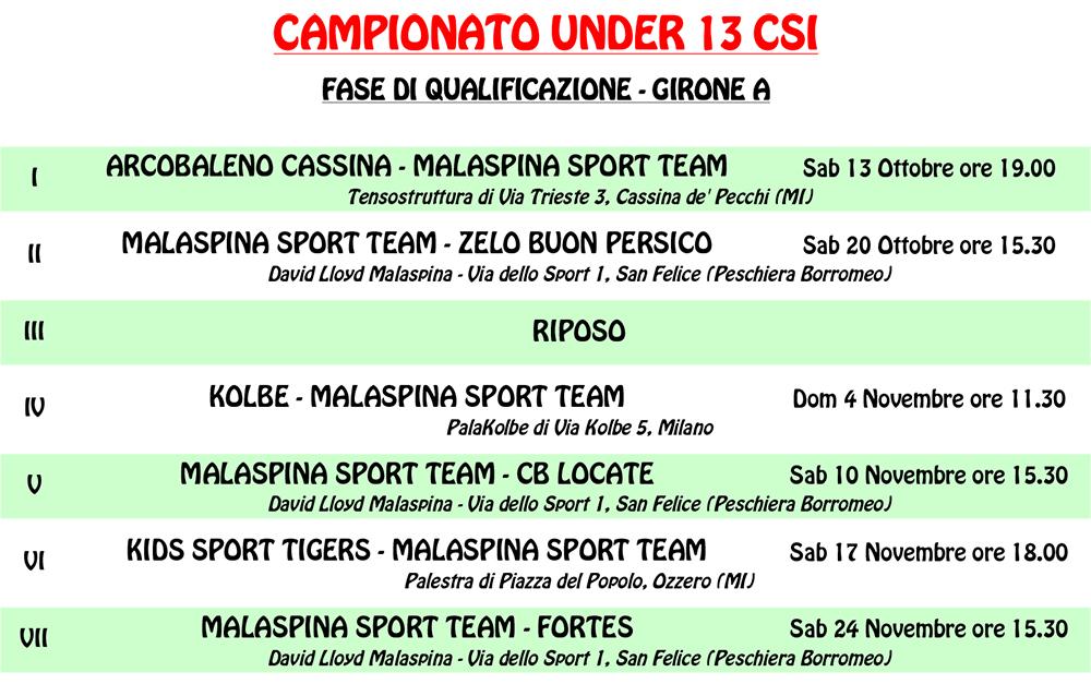 Calendario Csi Milano.Calendari Under 13 Biancorossi Stagione 2018 19 Basket
